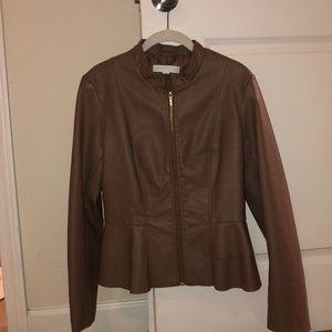 Faux leather peplum blazer